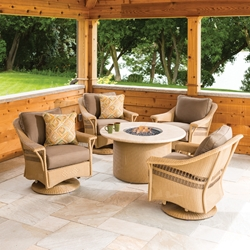 Lloyd Flanders Nantucket Wicker Lounge Swivel Gliders with Fire Table Set - LF-NANTUCKET-SET9