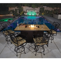 OW Lee San Cristobal 7 Piece Counter Height Fire Pit Dining Set - OW-SANCRISTOBAL-SET8