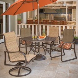 Windward Corsica Sling Outdoor Dining Set for 4 with High Back Chairs - WW-CORSICA-SET1