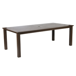 "Windward Etched Wood Grain Aluminum 42"" x 86"" Rectangle Dining Table - KD4286SEAU"