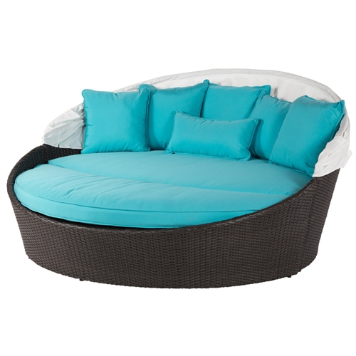 Windward Georgia Wicker Daybed with Off-White Canopy - W43110