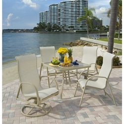 Windward Ocean Breeze Sling High Back Dining Set with Square Table - WW-OCEANBREEZE-SET1