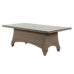 "Windward Oxford Wicker 42"" x 84"" Dining Table with Clear Glass Top and Umbrella Hole - KD4284W52GU"