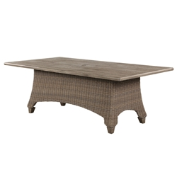"Windward Oxford Wicker 44"" x 84"" Dining Table with Beechwood Tile Top and Umbrella Hole - KD4484W52TU"