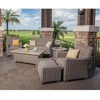 Windward Oxford Wicker Patio Set with Hidden Reticulated Foam Cushions - WW-OXFORD-SET7