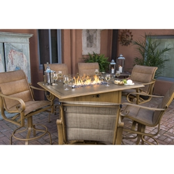 Woodard Belden Padded Sling Counter Height Fire Pit Set - WD-BELDEN-SET5