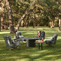 Woodard Cascade Spring Lounge Chair Set with Square Hammered Fire Table - WD-CASCADE-SET4