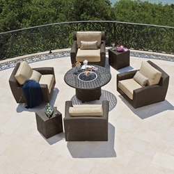 Woodard Saddleback Wicker Swivel Lounge Chairs with Fire Table - WD-SADDLEBACK-SET8