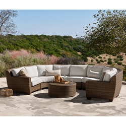 Woodard Saddleback U-Shaped Wicker Sectional