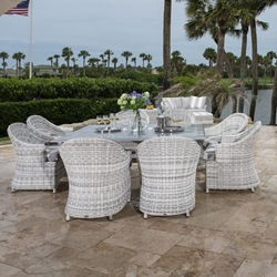 Woodard Sonoma Wicker Outdoor Dining Set for 8 - WD-SONOMA-SET7